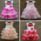 Flower Bows Girl Princess Pageant Wedding Bridesmaid Party Communion Tulle Dress