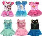 Girl Gymnastic Dance Skate Dress Kids 2-12Y Ballet Leotard Tutu Dancewear Skirt