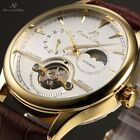 KS 4 Colours Automatic Mechanical 24 Hours Moon Phase Leather Mens Wrist Watch