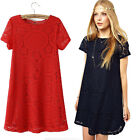 Women Lady Short Sleeve Lace Cocktail Party Loose Princess Mini Dress Tide