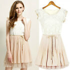 Fashion Women Slim Short-sleeved Chiffon Lace Princess Skirt Dress New