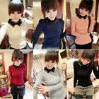 Womens Knitted Long Sleeve Collared Sexy Knitwear Blouse Pullover Puff Hot EA