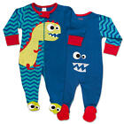 "Sozo Boys ""Dino-Mite"" Dinosaur Applique Zip Up Footie with Foot Art"