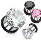 Pair Steel CZ Gem Single Flare Hollow Ear Plugs with O-Ring Earrings Gauges