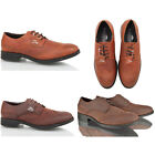 Mens boys leather casual formal lace up brogue office work brown tan shoes size