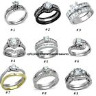 Stainless Steel AAA Cz Bridal Engagement Wedding Band Ring Set Non Tarnish