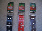 Meduim & Large Pet Dog Collar in Red Black Brown Double Layered Leather