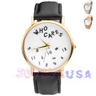 38mm Womens Lady Fashion Gold-tone Quartz Wrist Watch,PU Band,Who Cares Dial