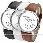 "1pc Numeral Round Case Quartz Analog Watch ""Who cares"" Print Fashion Style"