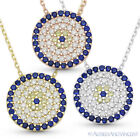 Evil Eye CZ Charm 13mm Pendant Turkish Nazar Greek Mati Sterling Silver Necklace