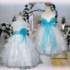 USMD75 Light Blue Evening Pageant Wedding Party Flower Girls Dress 1- 14 Y