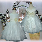 USMD75 White with Ivory Evening Pageant Wedding Party Flower Girls Dress 1- 14 Y