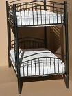 Miami Black Curve style Metal Bunk Bed use as 2x 3ft Single Beds mattress option