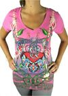 NEW CHRISTIAN AUDIGIER ED HARDY WOMEN'S PREMIUM SHIRT T-SHIRT PINK HEART