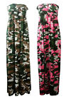 NEW LADIES NEON CAMOUFLAGE PRINT SHEARING BANDEAU MAXI DRESS SIZE 8-12