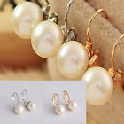 1Pair gold GF solid huggies pearl Dainty dangle earrings hoop bridal jewellery