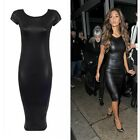 PU Leather Midi Dress XXL-M Bodycon Bandage Black Short Sleeve Sexy