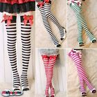 Hot Sale! Sexy Womens Striped Strawberry Bow Thigh High Socks Stockings