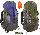 Highlander Rucksack Back Day Pack Travel Bag Backpack 40L 45L Blue Green + Cover