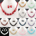 14 Color Mix-Color Imitation Pearl Glass Round Beads Necklace & Earrings 1 Set