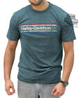 Harley-Davidson Mens Distressed Vintage Stripe Logo Teal Short Sleeve T-Shirt