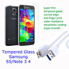 Samsung Galaxy Tempered Glass Screen Protector for S5 Note 3 4 + FREE USB CABLE