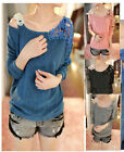Womens Hollow Crochet Off Shoulder Sweater Jumper Lace Floral Knit Top Blouse