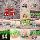 13 Color Red Blue Green Purple Crystal Glass Faceted Beads Dangle Earrings 1Pair