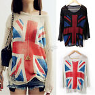 New Ladies Womens Distressed Frayed Torn Union Jack Flag Knitted Sweater Jumper