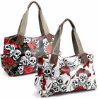 Ladies Girls Skull Rose Oilcloth Shoulder Bag Satchel School Bag Shopping Tote