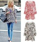 Women Floral Print Tunic Boho Tops Flare Sleeve Tee Shirt Peplum Blouse 3 Colors