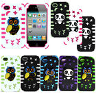 Hybrid Hard Silicone Owl Panda Cover Case Accessory For iPhone 4 4S