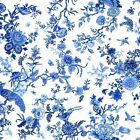 BIRDS AND FLOWERS - ORIENTAL BLUE by MAKOWER 100% COTTON FABRIC PATCHWORK