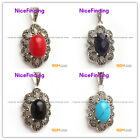 Pretty10x12mm oval beads Marcasite silver pendant 18x34mm FREE gift box +chain