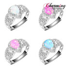 Rose White Blue Pink Fire Opal Women Jewelry 925 Vintager Silver Ring Sz 7 8 9