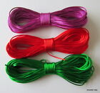 10 Metres X 1mm 'BUGTAIL' CORD Satin (Nylon) in PURPLE/RED/EMERALD GREEN