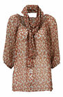 Tan Floral Print Gypsy Top On or Off Shoulder 3/4 Sleeves Optional Belt Scarf