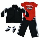 Adidas Kids Track Suit Boy Toddler Four Piece Set Jacket Pants Shirt Socks Cb003