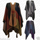 Ladies Women STYLISH Knitted Poncho Check Tartan Chunky Cardigan Cape Wrap 8-14