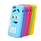 3D M&M Rainbow Bean Silicone Back Cover Skin Case For Apple iPhone 4 / 5 / 5C/ 6