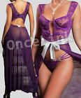 Sexy Lingerie Babydoll Long Chemise Evening Gowns WIRED BRA Satin Bow String Set