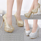 Womens High Heels Hidden Platform Metallic Sequin Crochet Pumps Stilettos Shoes