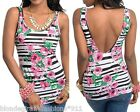Black/White Stripe/Floral Rose Chic Sleeveless Open/Low Back Tank Top S/M/L