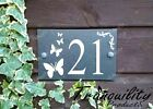 Engraved House Door Gate Number Slate Sign Plaque 51 - 75 With Butterflies