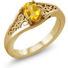 0.60 Ct Oval Yellow Citrine 925 Yellow Gold Plated Silver Ring
