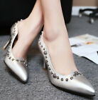 2015 New Fashion Womens Leather Rivet Pointed Toe High Heels Sexy Work Shoes
