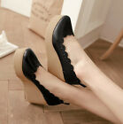 Korean Style Womens Foral platforms & wedges Buckle Lame Comfort Dress Shoes New