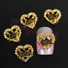 10/50/100pcs Gold Alloy 3D Crystal Rhinestones Heart Nail Art Jewelry Decoration