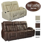 LC7027 REAL BONDED LEATHER RECLINER CINEMA STYLE SOFA SUITE CHAIRS