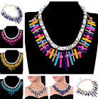Fashion White Ribbon Chain Multi-color Spray Paint Metal Cluster Bib Necklace